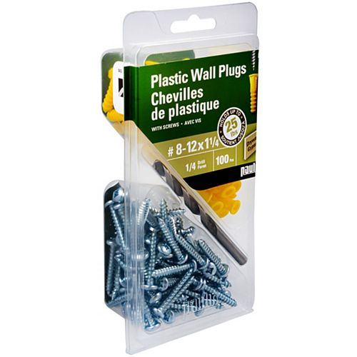 8-12X1 Plastic Anchors with Screws