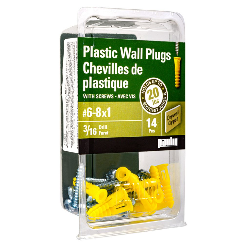 Paulin 6-8x1-inch Yellow Plastic Anchors with Screws - 14pc