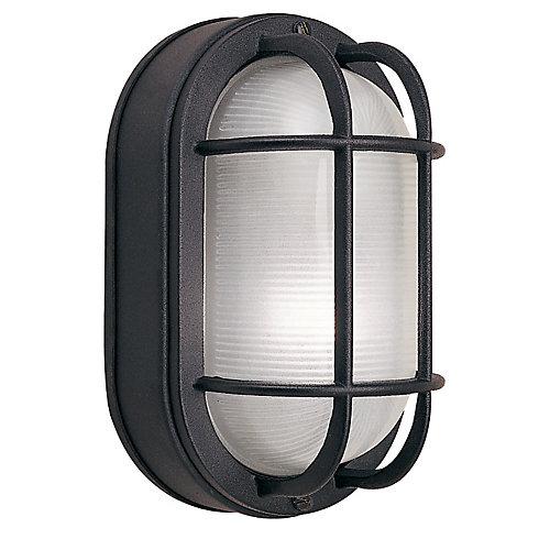 Applique ovale grillagée noire en fonte d'aluminium, 8,5po, à une ampoule, 60W