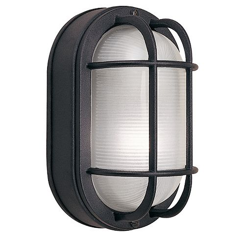 60W 1-Light Black Cast Aluminum 8.5-Inch Oval Bulkhead Outdoor Wall Light