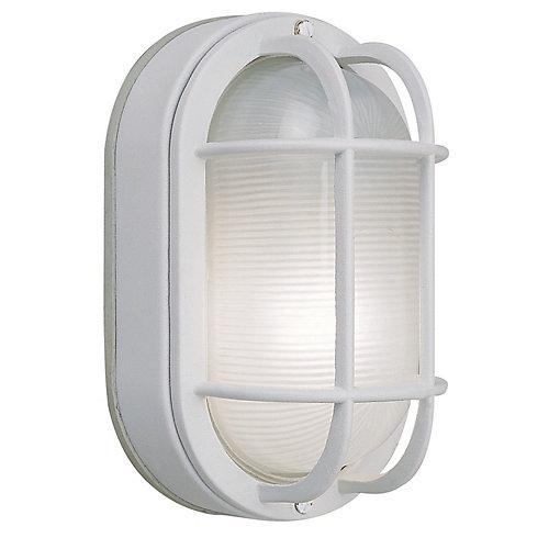 Applique ovale grillagée blanche en fonte d'aluminium, 8,5po, à une ampoule, 60W