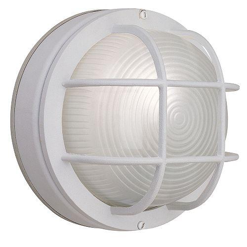 Hampton Bay Applique ronde grillagée blanche en fonte d'aluminium, 8po, à une ampoule, 60W