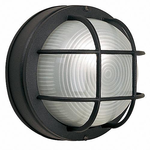 60W 1-Light Black Cast Aluminum 8-Inch Round Bulkhead Outdoor Wall Light