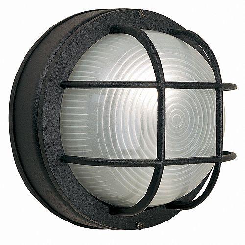 Hampton Bay Applique ronde grillagée noire en fonte d'aluminium, 8po, à une ampoule, 60W