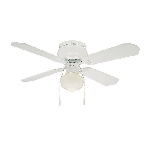 Littleton 42-inch 4-Blade 1-Light White Indoor Ceiling Fan with Light Kit and Reversible Blades