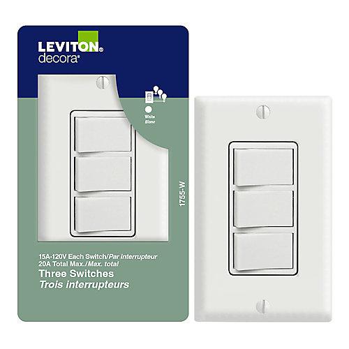 Triple Rocker Switch, White