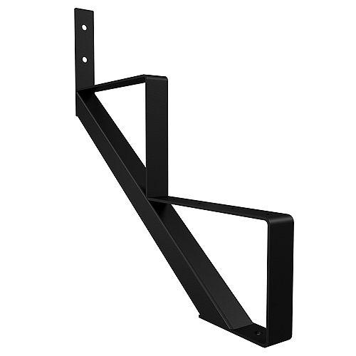 2-Step Steel Stair Riser in Black (Includes 1 Stair Stringer)