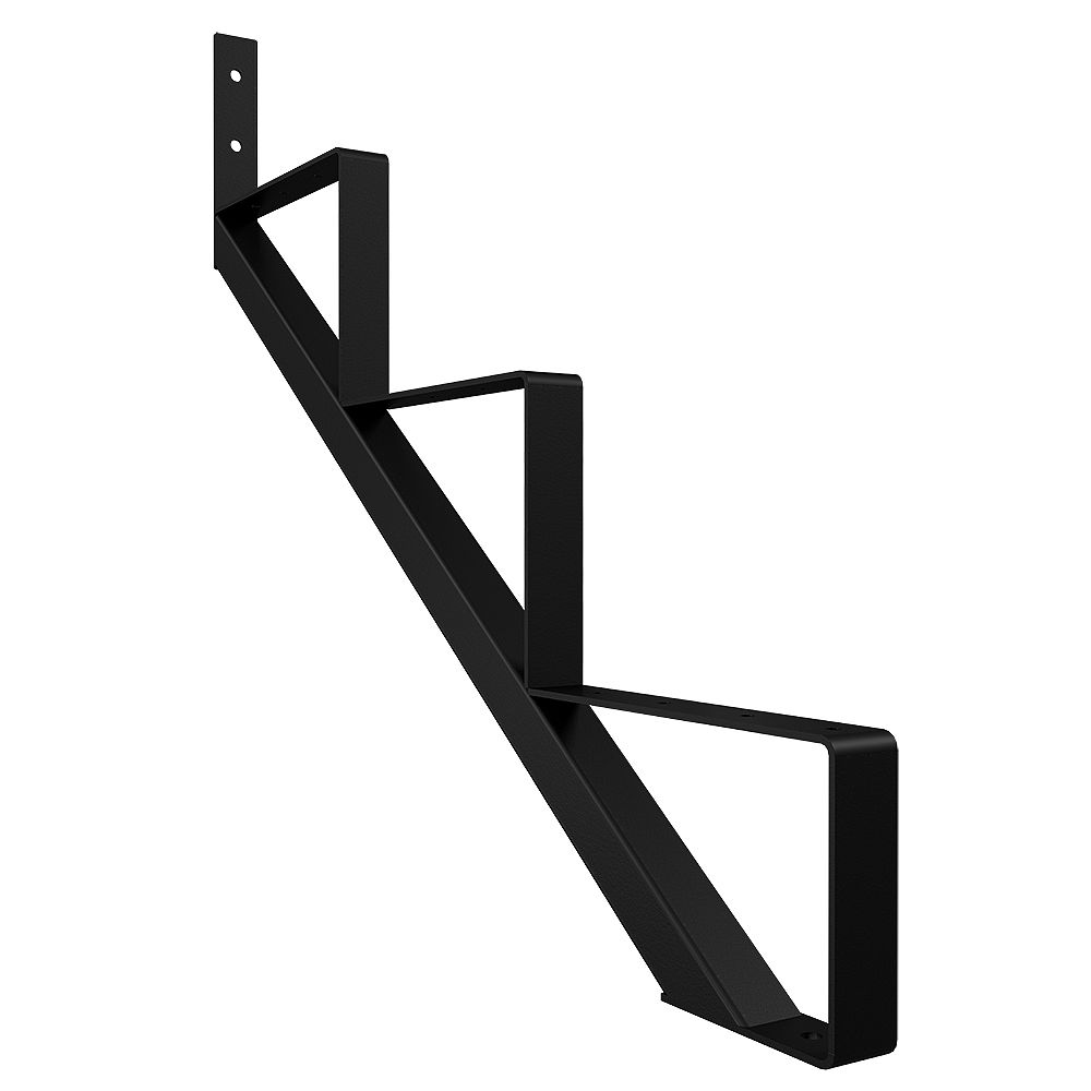 Peak Products 3-Step Steel Stair Riser in Black for Patios and Decks