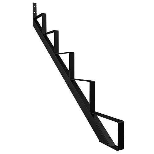 5-Step Steel Stair Riser in Black (Includes 1 Stair Stringer)
