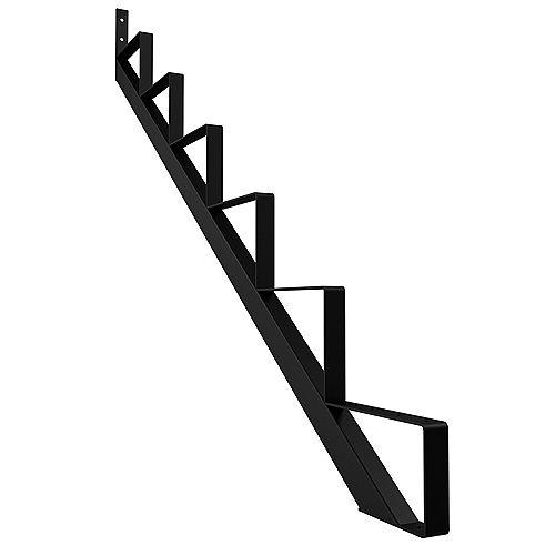 6-Step Steel Stair Riser in Black (Includes 1 Stair Stringer)