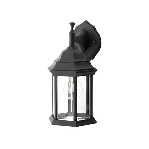 Applique d'extérieur noire, à une ampoule, 100W, avec diffuseur en verre biseauté transparent