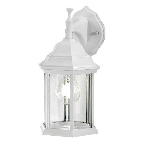 Applique d'extérieur blanche, à une ampoule, 100W, avec diffuseur en verre biseauté transparent