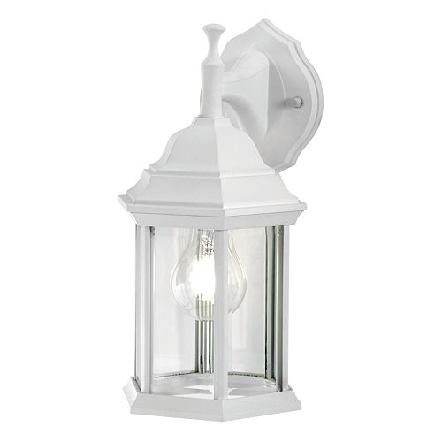 100W 1-Light White Outdoor Wall Lantern with Clear Bevelled Glass