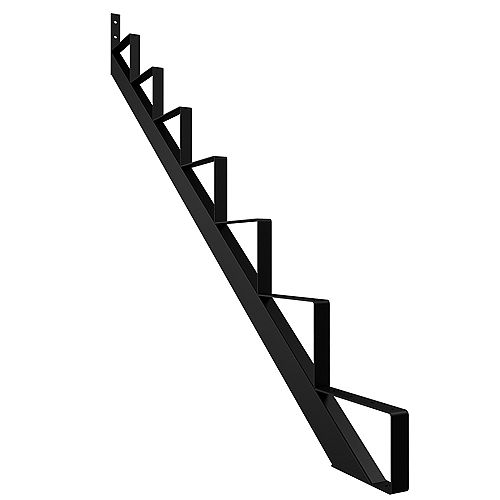Peak Products 7-Step Steel Stair Riser in Black for Patios and Decks