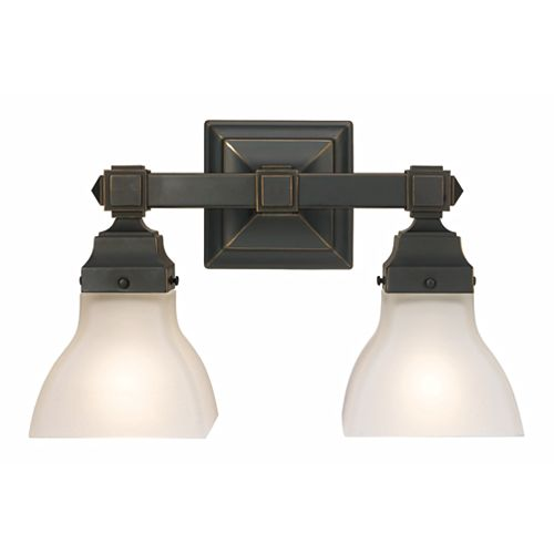 2-Light Bathroom Vanity Light Fixture in Restoration Bronze with Etched Glass Shades