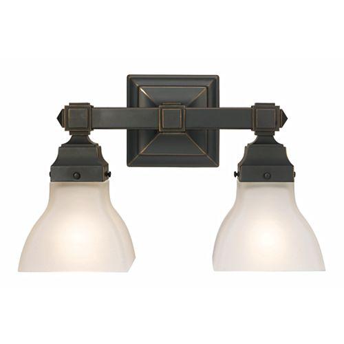 Madison Avenue Lighting & Fan Co Luminaire pour meuble-lavabo à 2ampoules avec diffuseurs, fini bronze restauré et verre gravé