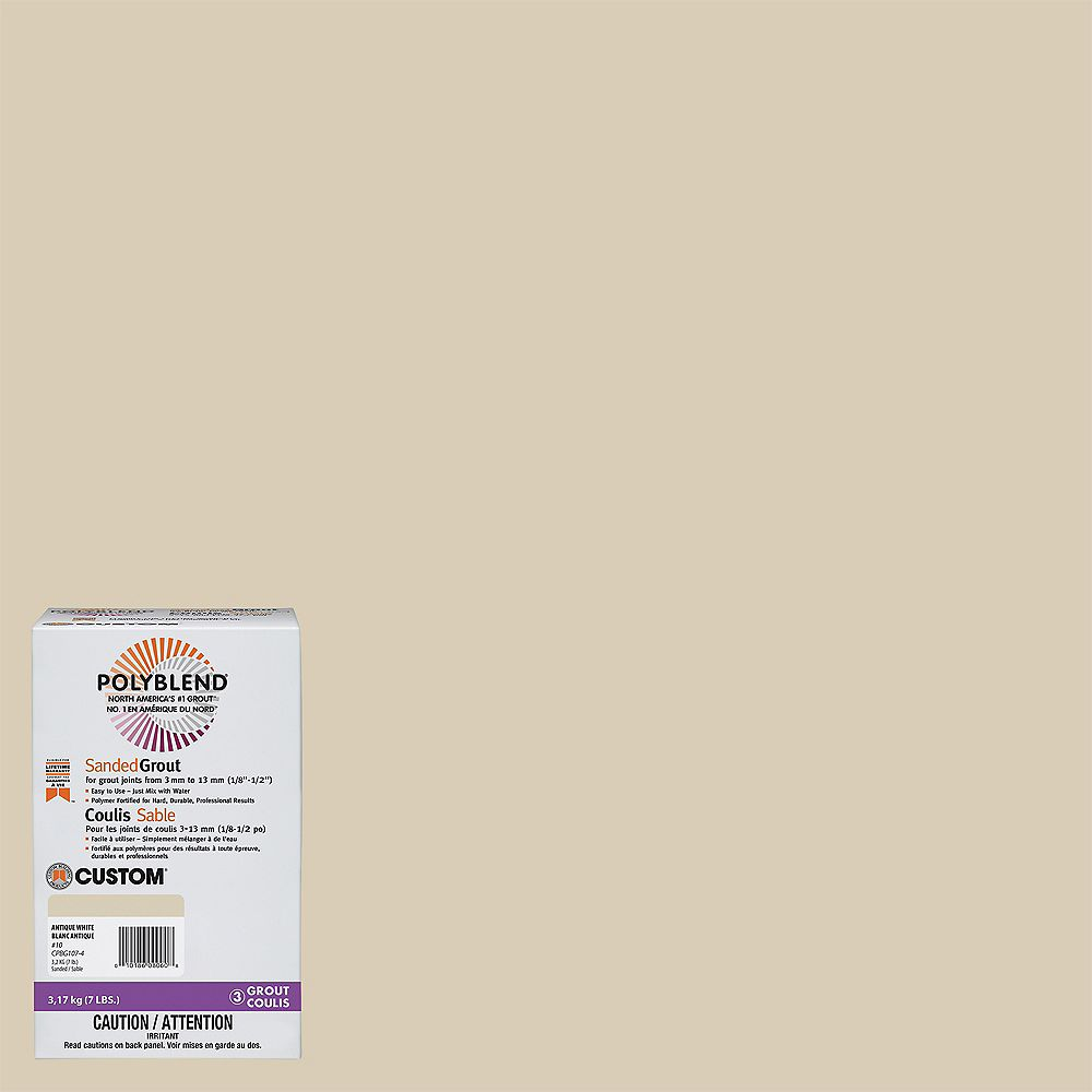 Custom Building Products #10 Antique White - Polyblend Sanded Grout - 7lb