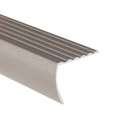 Stair Nosing Floor Moulding, Hammered Silver - 1-1/8 Inch