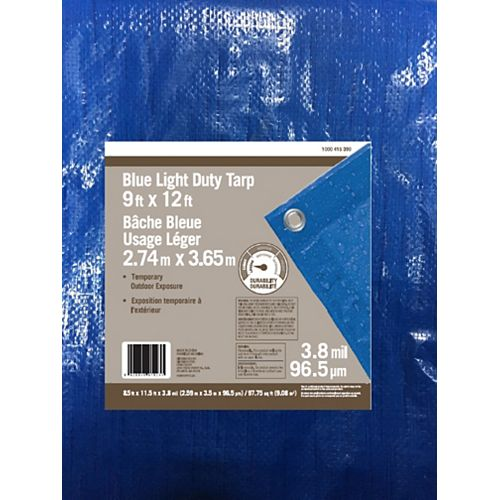 Blue Light Duty Tarp 9ft x 12ft