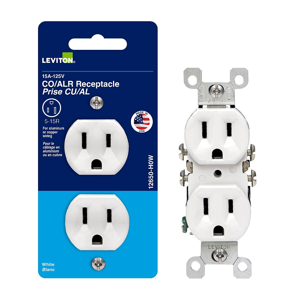 Leviton Co/alr Duplex Outlet - White