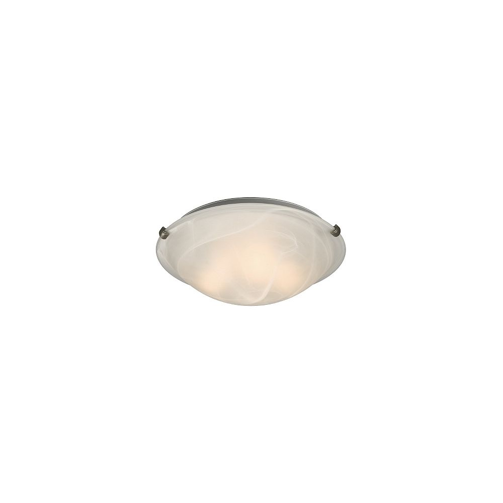 Hampton Bay 3 Light Pewter Clip Flushmount Ceiling Light With White Marbled Glass The Home Depot Canada