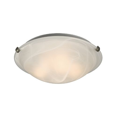 3-Light Pewter Clip Flushmount Ceiling Light with White Marbled Glass