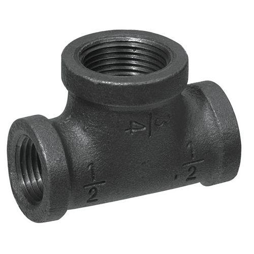 Aqua-Dynamic Raccord Fonte Noire Té Réducteur 3/4 Pouce x 1/2 Pouce x 1/2 Pouce