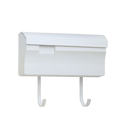 Wall Mounted Mailbox With Hooks, White