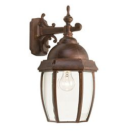 Vintage III Series Large, Antique Copper with Clear Bubble Globe, Downward Wall Mount