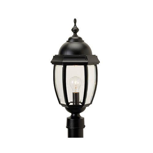 Vintage III, grand, luminaire sur poteau, panneaux de verre  biseauté clair, noir (poteau non-inclus)