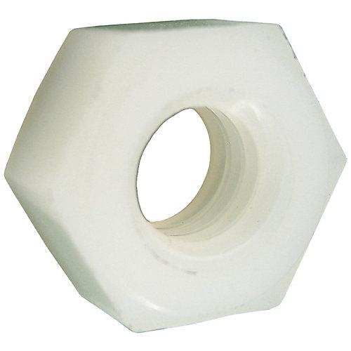 Écrous hexagonaux 1/4 po-20 en nylon pour vis à six pans creux