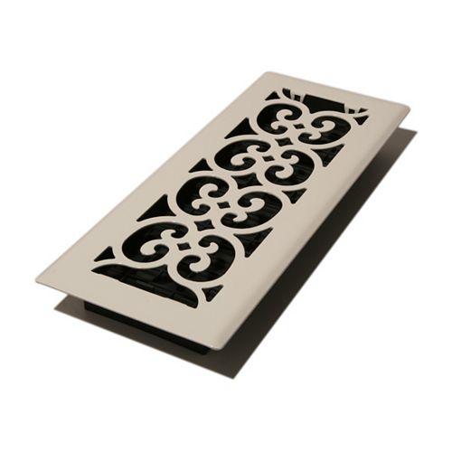 Decor Grates 4 po x 12 po Registre de plancher style volutes, fini blanc peint