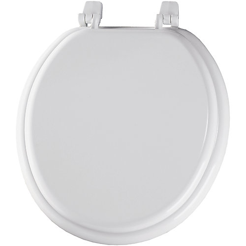 Round Wood Toilet Seat with Top-Tite Hinge in White