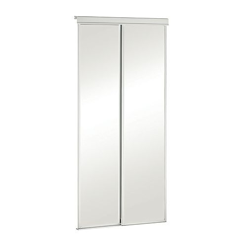 48-inch White Framed Mirrored Sliding Door