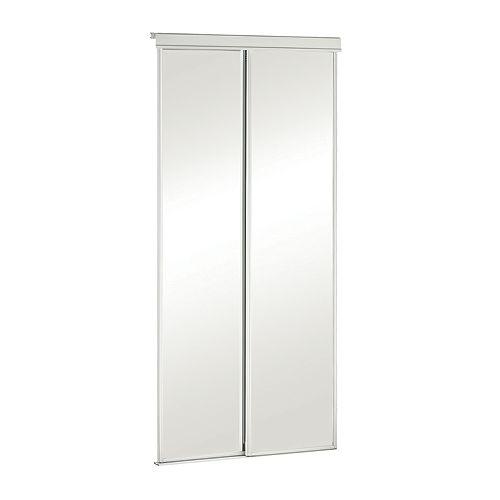 Porte miroir 30 pouces encadrement de métal blanc, coulissante