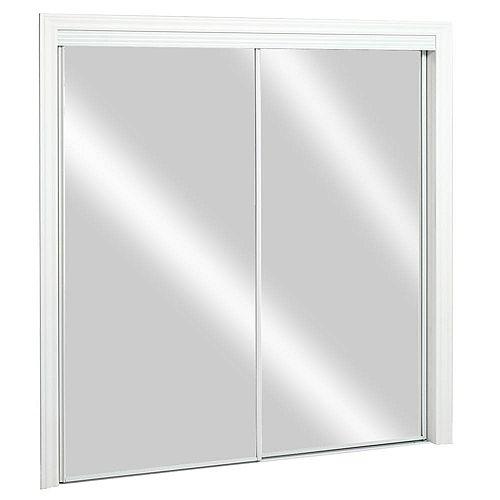 48-inch x 80-inch Steel White Framed Top Roll Sliding Mirror Door