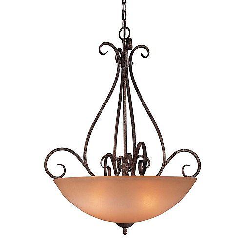 Suspension en bronze doré à quatre lumières