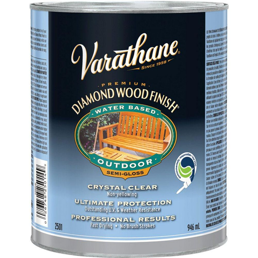 Varathane Premium Diamond Wood Finish For Outdoor, Water-Based In Semi-Gloss Clear, 946 mL