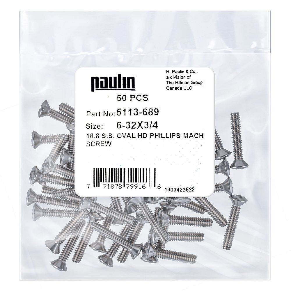 Paulin 6 32X3/4 Ss Oval Phillips Mach Screw