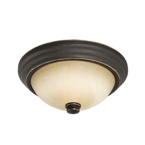Hampton Bay Ceiling Fixture With Marbled Glass