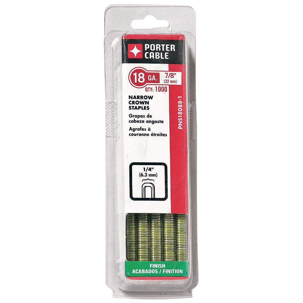 PORTER-CABLE 18-Gauge x 7/8-inch Narrow Crown Staple 1000 per Box