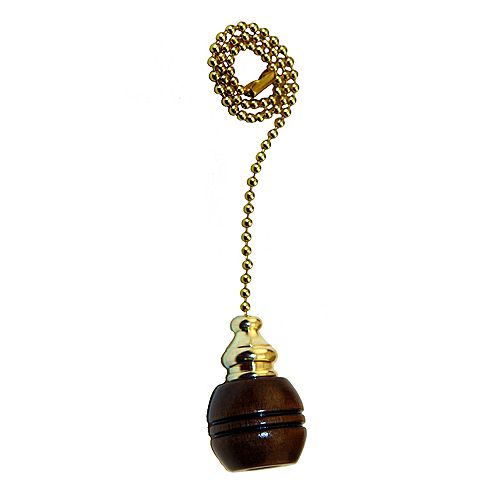 Atron Dark Wood Ball-shaped Pull Chain with 12 Inch (30.5 cm) Brass Beaded Chain