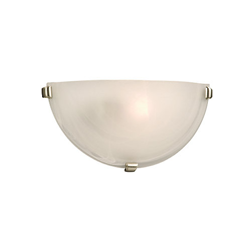 1-Light Marbled Glass Sconce with 3 Pewter Clips