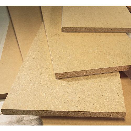 Tablette non-finie en panneau de fibres à densité moyenne (MDF), bord carré, 5/8 po x 12 po x 96 po