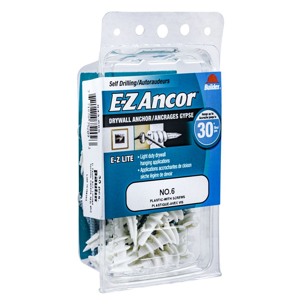 E-Z Ancor® #6 E-Z Ancor(R) Drywall Anchor in Nylon with Screw - 25 pcs