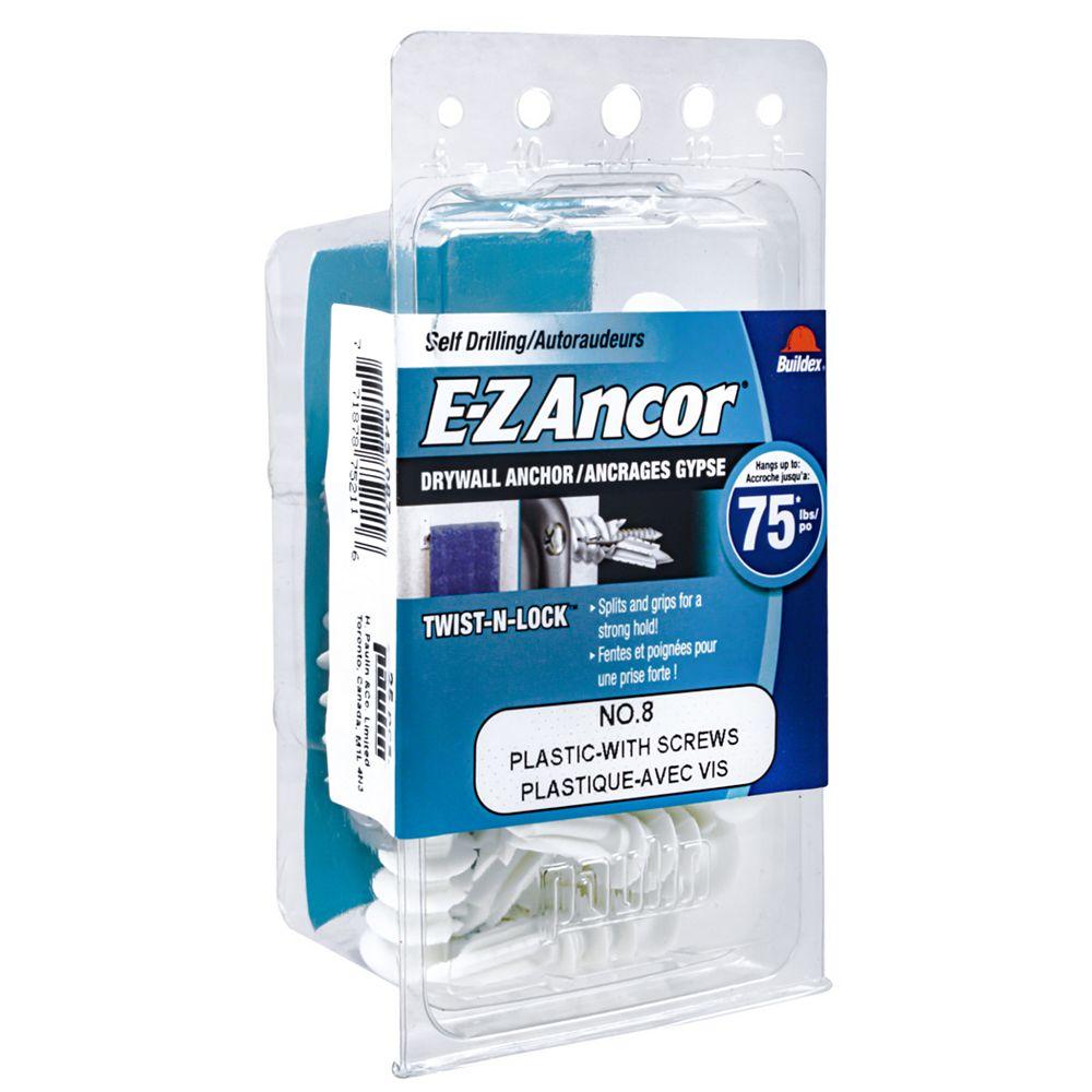 E-Z Ancor® E-Z Ancor® Twist N Lock #8 Self-Drilling Nylon Drywall Anchors with Screws, Heavy Duty, 25pcs