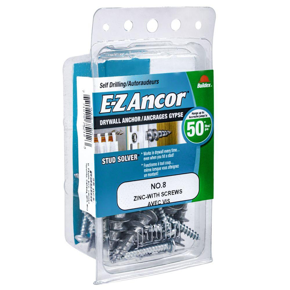 E-Z Ancor® #8 E-Z Ancor(R) Drywall Anchor in Zinc with Screw - 25 pcs