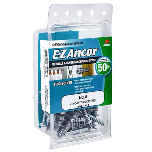 #8 E-Z Ancor(R) Drywall Anchor in Zinc with Screw - 25 pcs