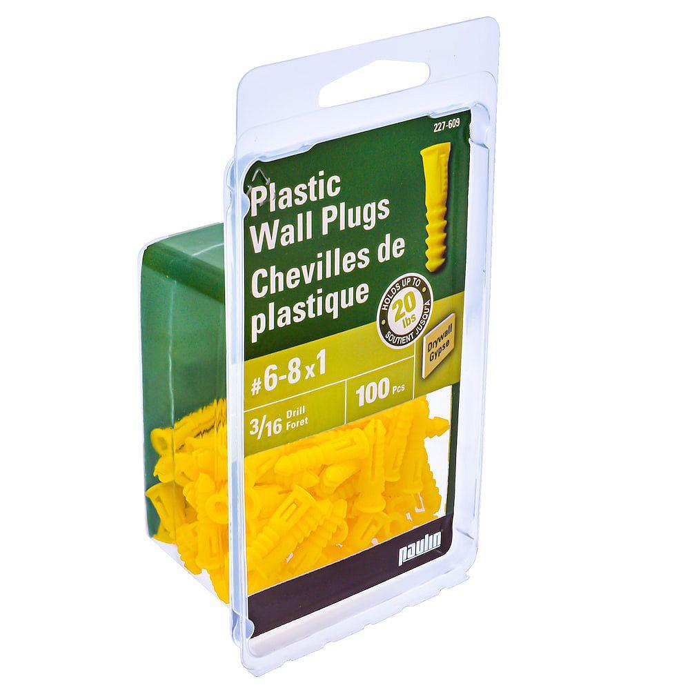 Paulin No. 6-8 x 1-inch Yellow Plastic Hollow Wall Anchor