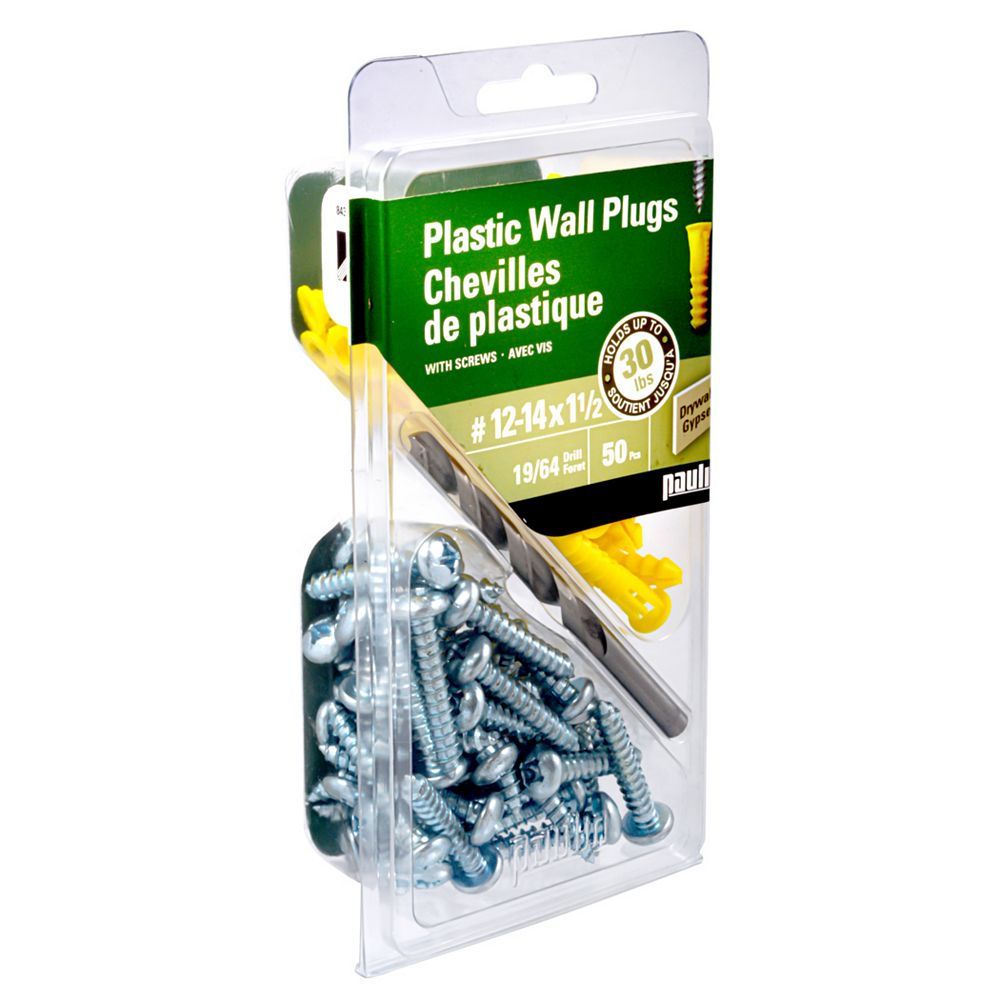 Paulin No. 12-14 x 1 1/2-inch Plastic Anchors with Screws (50-Pack)